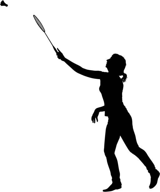 black silhouette of female badminton player on white background - badminton smash stock illustrations