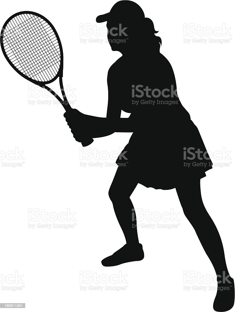 Black silhouette of female tennis player royalty-free stock vector art