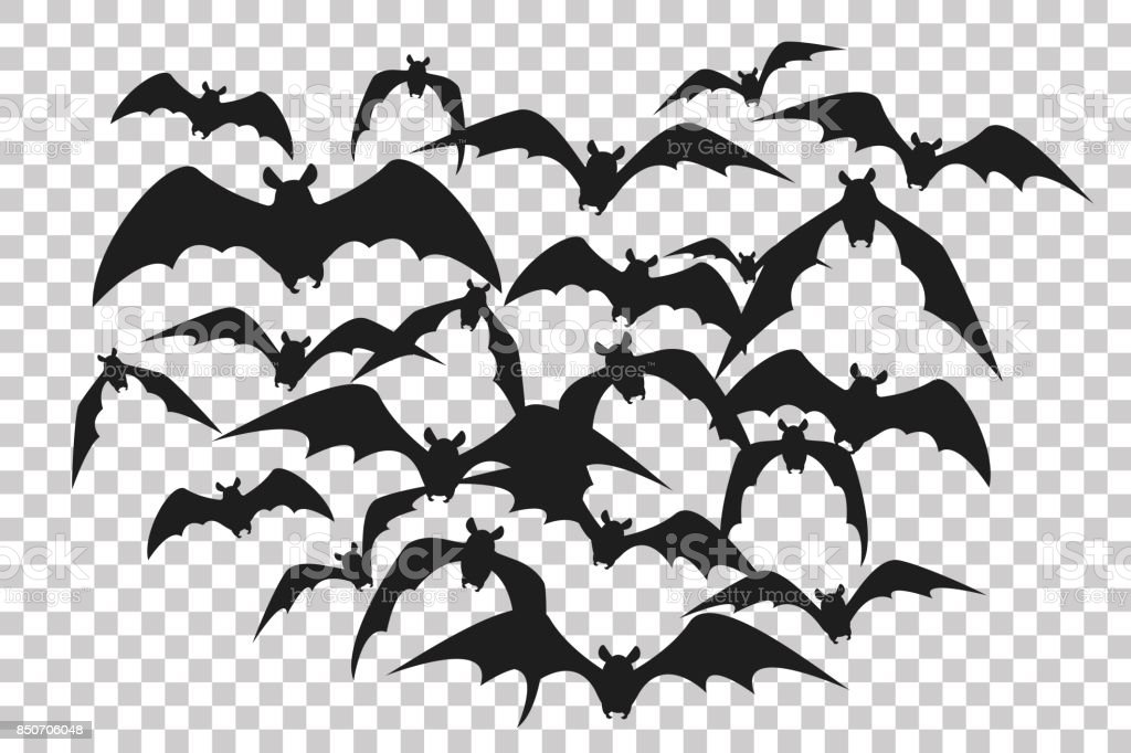 Black silhouette of flock of bats. Bunch of bats isolated on transparent background. Halloween traditional design element. Vector illustration vector art illustration