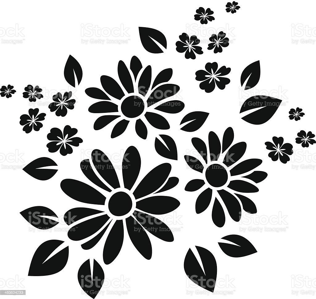Black silhouette of flowers. Vector illustration. vector art illustration