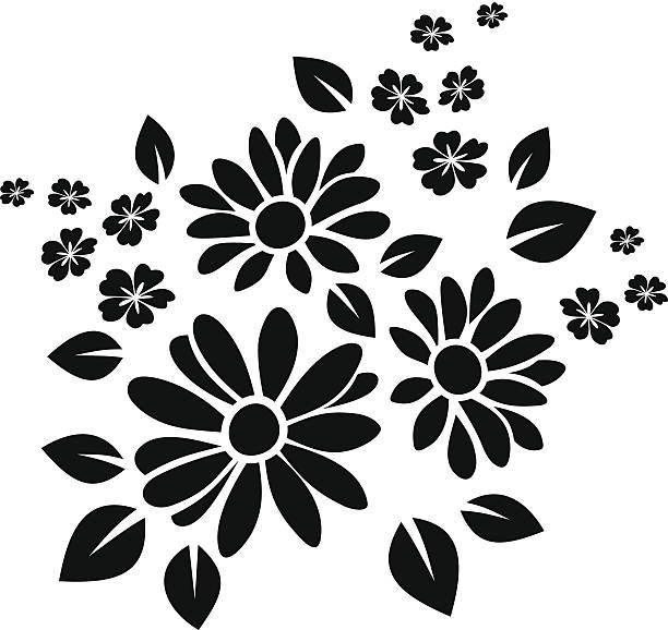 Black silhouette of flowers. Vector illustration. Vector black silhouette of flowers on a white background. daisy stock illustrations