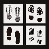 Black silhouette of footprint. Human/animal footprint track. Footprint clip. Minimalistic Vector illustration.