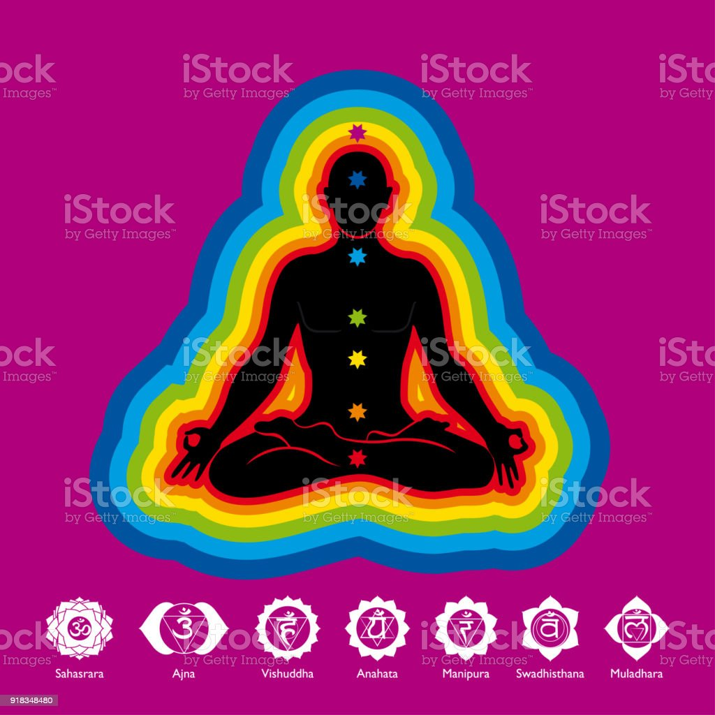 Black Silhouette Of Man Doing Yoga In Lotus Flower Position With