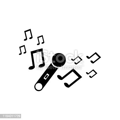 Black silhouette of microphone with music signs. Simple icon. Holiday decorative element. Vector illustration for design.
