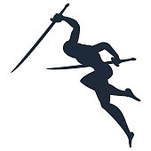 black silhouette of ninja