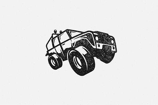 Black silhouette of off road car designed as symbol of travel through nature hand drawn stamp effect vector illustration