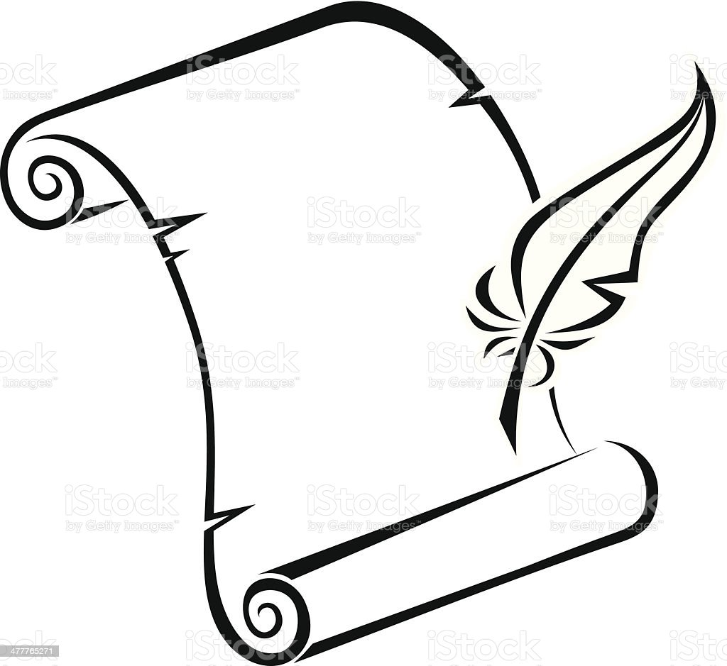 Scroll Drawing: Black Silhouette Of Paper Scroll And Feather Pen Vector