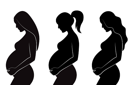 Black Silhouette Of Pregnant Women With Different Hairstyles Straight Hair Curly Hair Ponytail Stock Illustration - Download Image Now