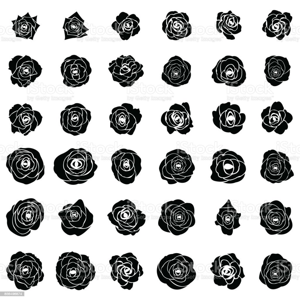 ee30c94f05a Black Silhouette Of Rose Stock Vector Art   More Images of Art ...