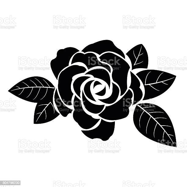 Black silhouette of rose with leaves vector id504796230?b=1&k=6&m=504796230&s=612x612&h=4hjz8hrrjhgygrrwbx4szxkr8nfsmbsc49gcxam60fu=