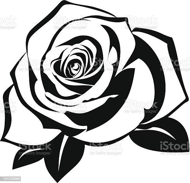 Black silhouette of rose with leaves vector illustration vector id154256998?b=1&k=6&m=154256998&s=612x612&h=iefpvjjghm llkdmgqxapx4qgrfksunla8 xeltm5b0=