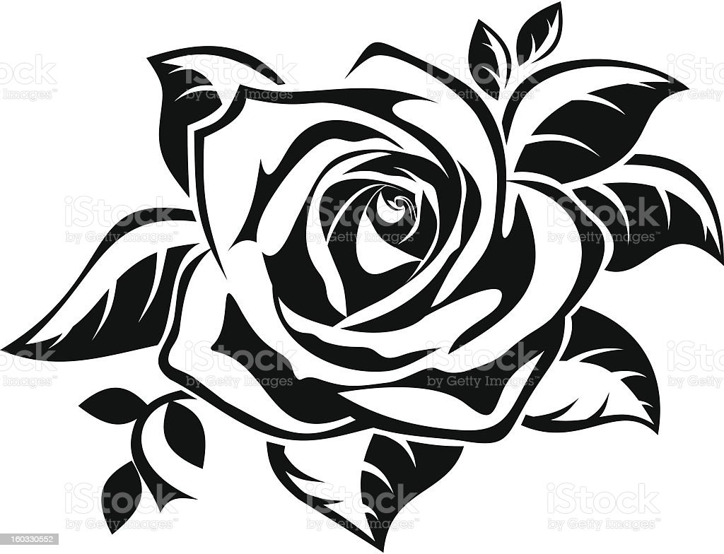 royalty free black and white rose clip art vector images rh istockphoto com rose bouquet black and white clipart rose border black and white clipart