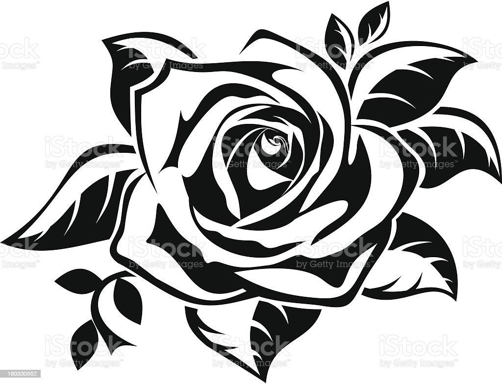 Black silhouette of rose with leaves vector illustration vector art illustration