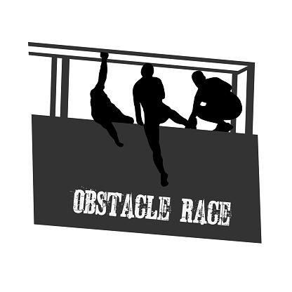 Black silhouette of running man on white background