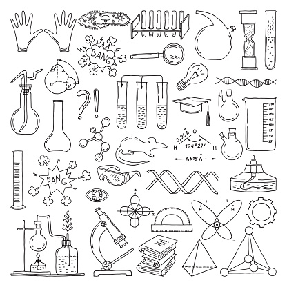 Black silhouette of scientific symbols. Chemistry and biology art. Education vector elements set