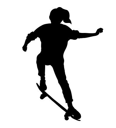 Black silhouette of skateboarder isolated on white background. Skateboard girl. Skateboarding trick ollie. Jump on skateboard.
