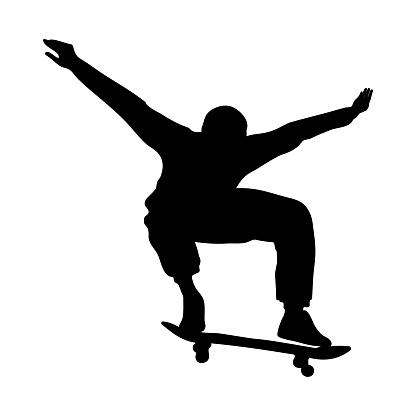 Black silhouette of skateboarder isolated on white background. Skateboard guy. Skateboarding trick ollie. Jump on a skateboard.
