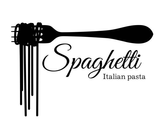 schwarze silhouette spaghetti auf einer gabel mit einer inschrift-vektor-illustration isoliert auf weißem hintergrund-website und mobile app-design - spaghetti stock-grafiken, -clipart, -cartoons und -symbole