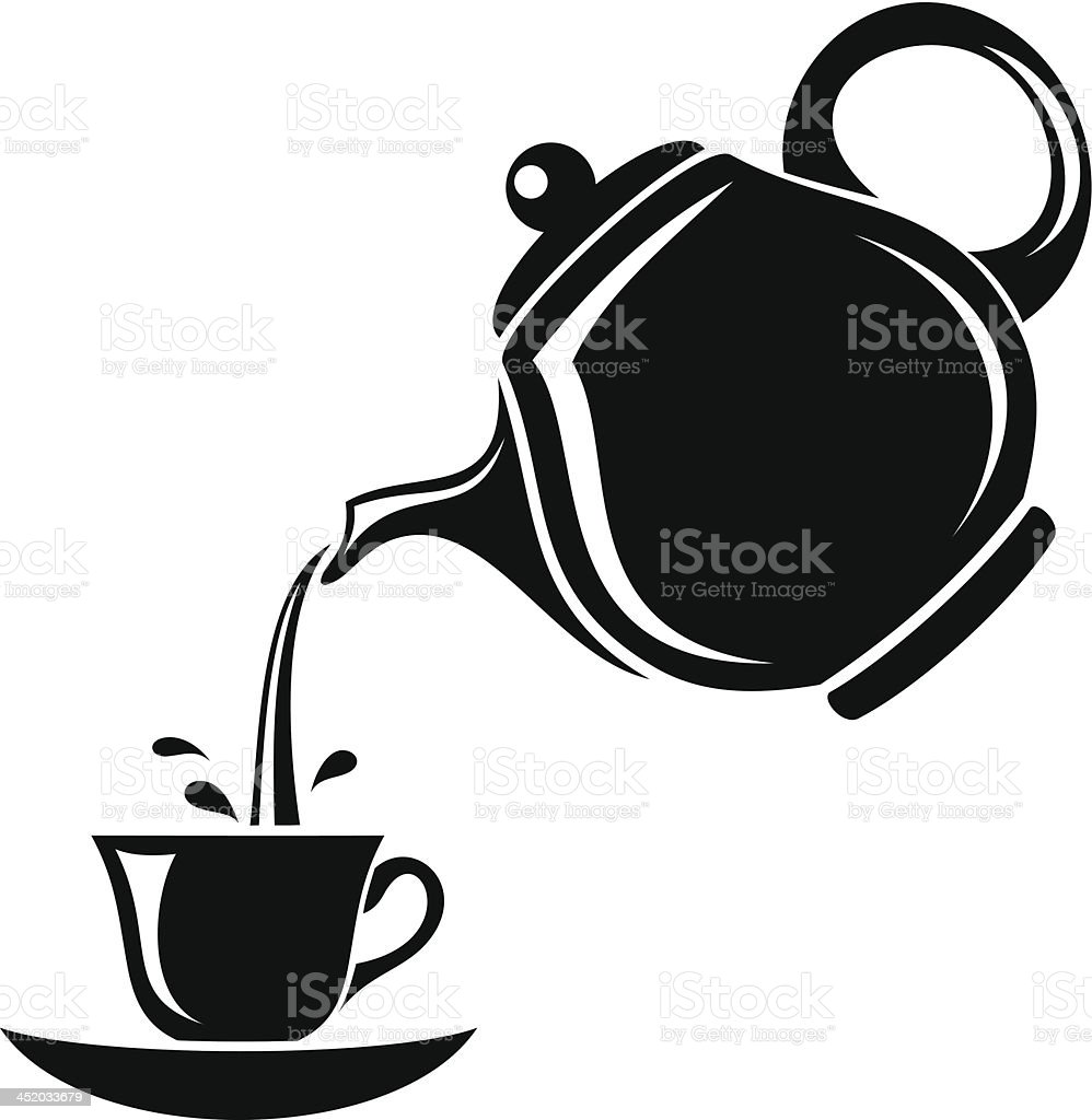 Black silhouette of teapot and cup. Vector illustration. vector art illustration
