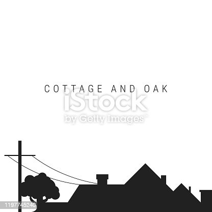 istock Black silhouette of the roof of the cottage with chimneys. Real estate or construction background. Vector illustration. 1197745240