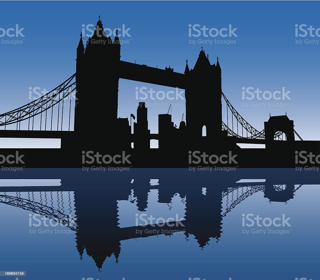 Black silhouette of the Tower Bridge on a blue background vector art illustration