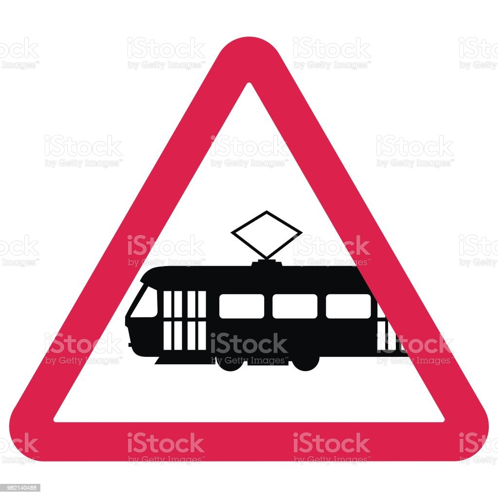 Black Silhouette Of Tram At Red Triangle Frame Vector Icon Traffic ...