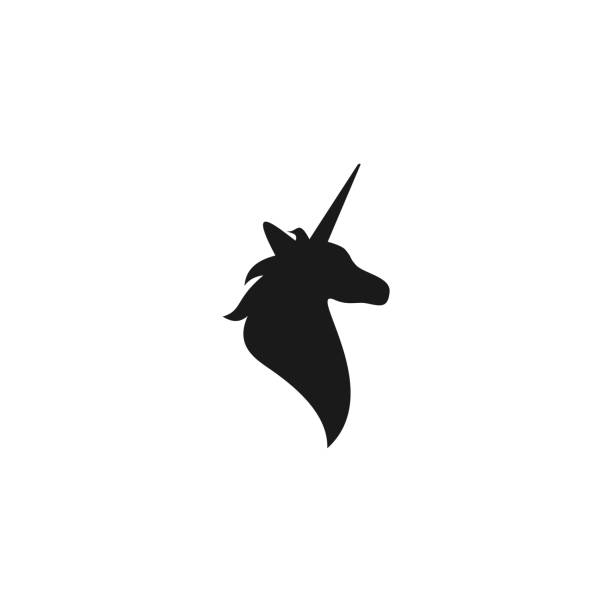 Black silhouette of unicorn head. Black silhouette of unicorn head. vector flat icon isolated on white background. fantasy logo. fairy tale symbol. unicorns stock illustrations
