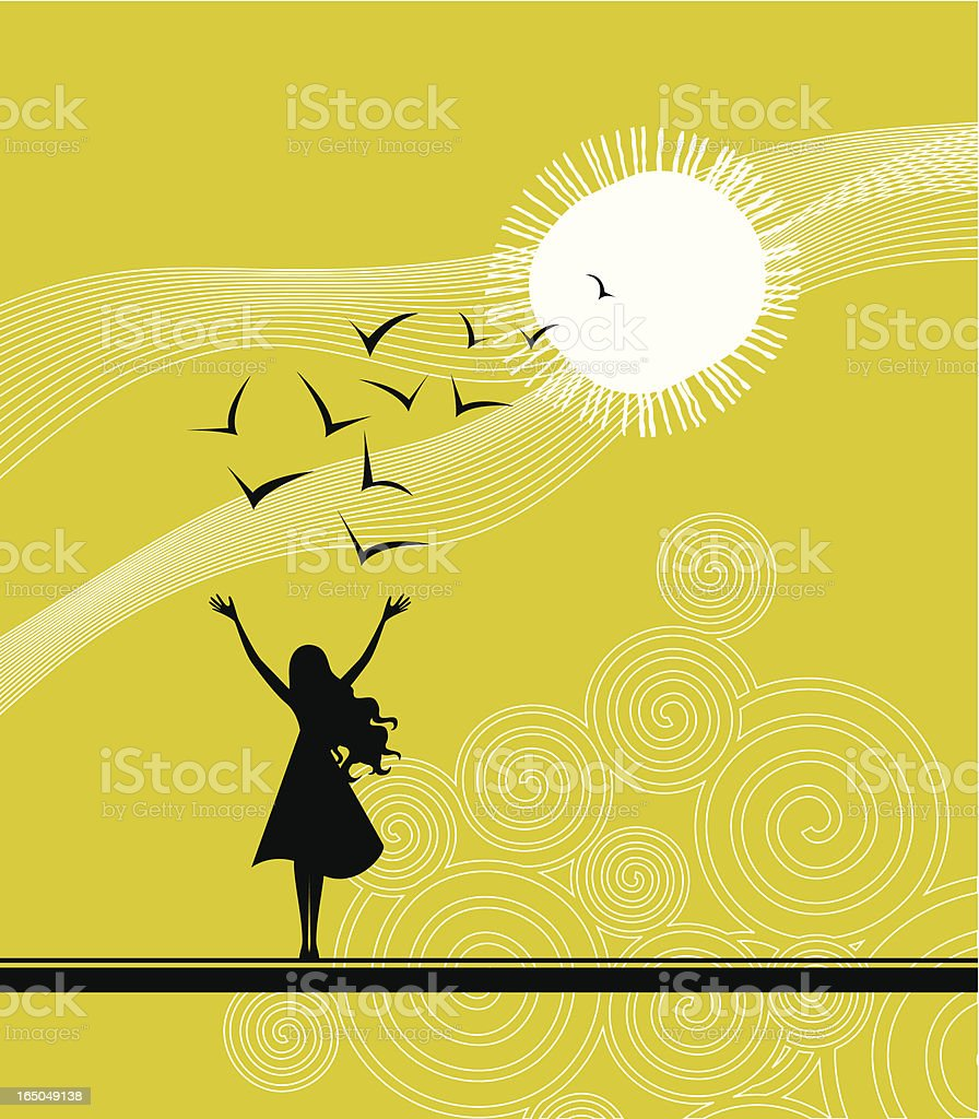 Black silhouette of woman and birds over a yellow sky vector art illustration