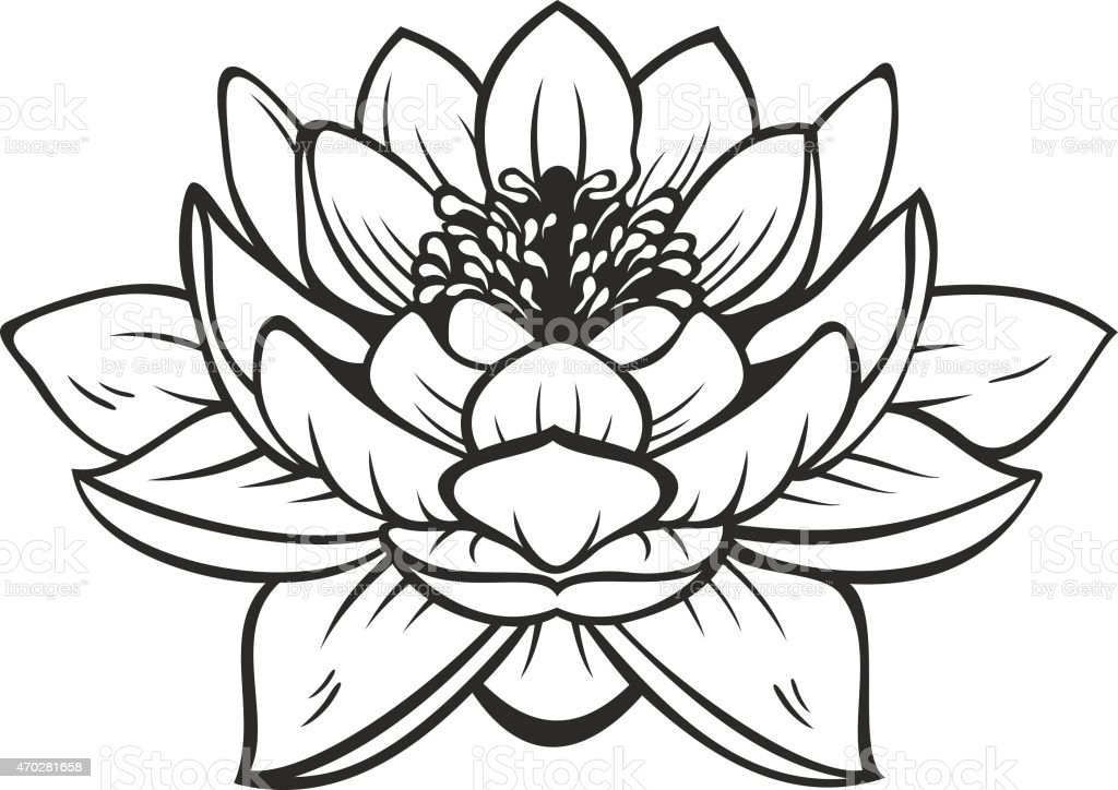 black silhouette outline lotus vector tattoo illustration