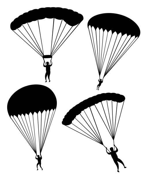 Black silhouette. Parachutist in flight. Set of skydivers. Flat vector illustration isolated on white background Black silhouette. Parachutist in flight. Set of skydivers. Flat vector illustration isolated on white background. parachuting stock illustrations