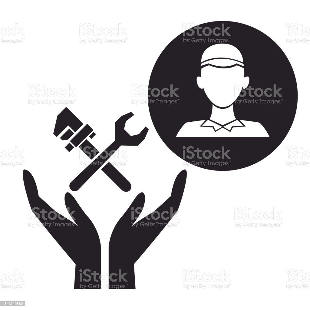 Ilustración de Plomero De Silueta Negra En Marco Circular Con Las ...