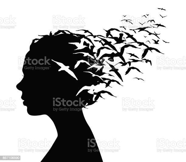 Black silhouette portrait of a pretty girl with birds flying from her vector id857106590?b=1&k=6&m=857106590&s=612x612&h=rkug24ewjdxjrlvnp1dhp9nrif5aakmliriboitp7is=