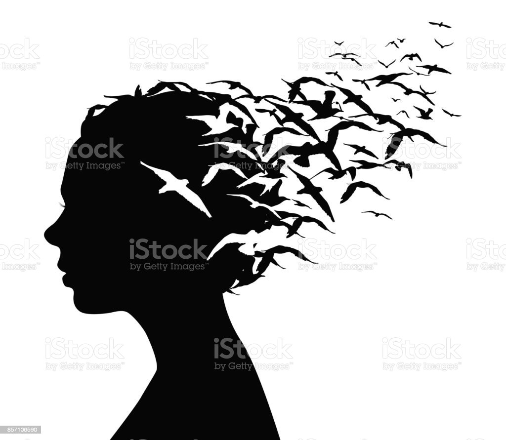 Black silhouette portrait of a pretty girl with birds flying from her head - thoughts, emotions or psychology concept. vector art illustration
