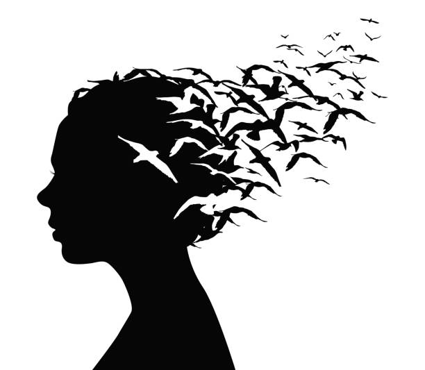 black silhouette portrait of a pretty girl with birds flying from her head - thoughts, emotions or psychology concept. - abstract silhouettes stock illustrations
