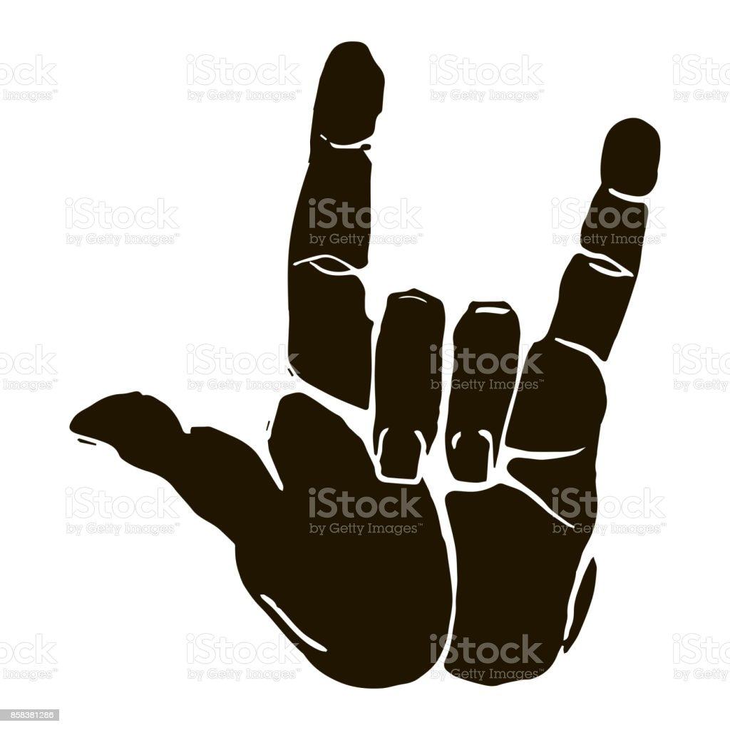 Black silhouette realistic rock n roll hand gesture icon graphic vector art illustration