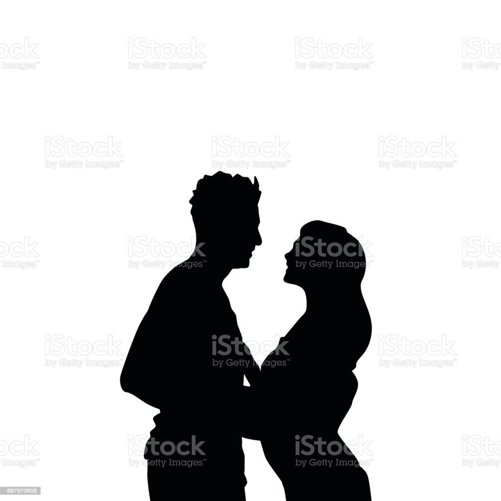 Black silhouette romantic couple holding hands looking at each other isolated over white background lovers man and woman illustration