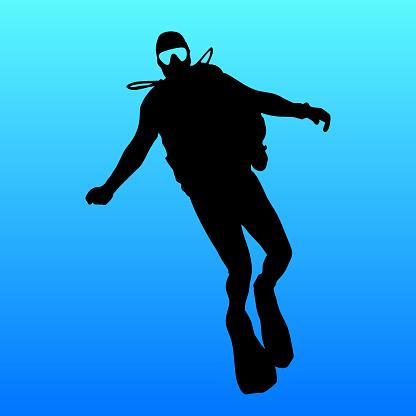 Black silhouette scuba divers on blue background