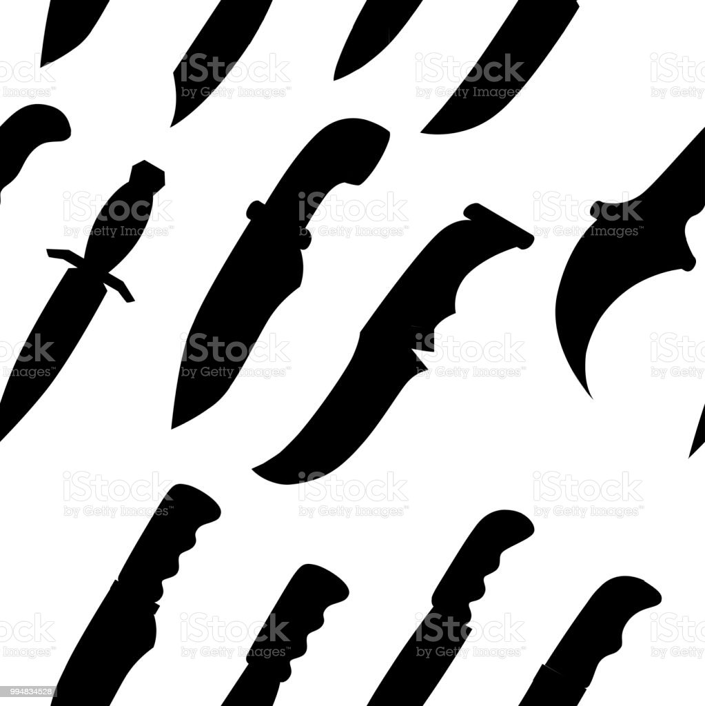 Black Silhouette Seamless Pattern Collection Of Daggers Tactical And