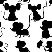 Black silhouette. Seamless pattern of cute cartoon mouse . Funny little grey mouse collection. Emotion little animal. Cartoon animal character design. Flat vector illustration on white background.