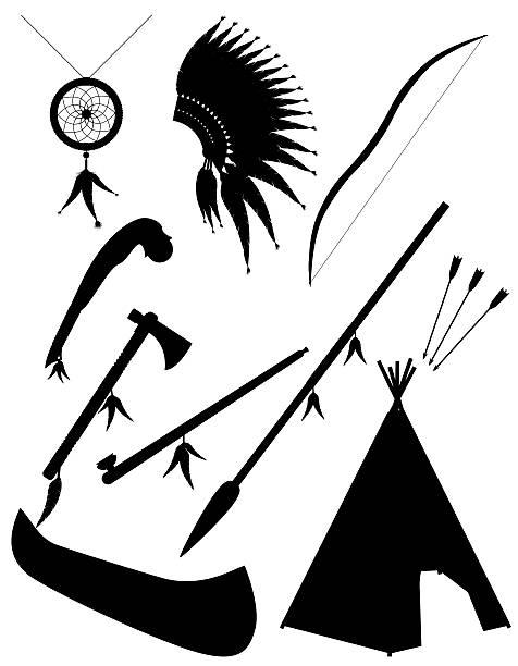 Silhueta negra Conjunto de ícones objetos estes índios Ilustração vetorial - ilustração de arte em vetor