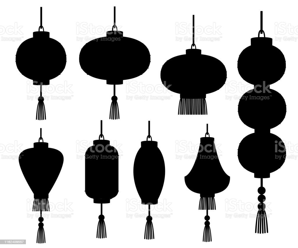 Black Silhouette Set Of Chinese Lanterns In Different ...