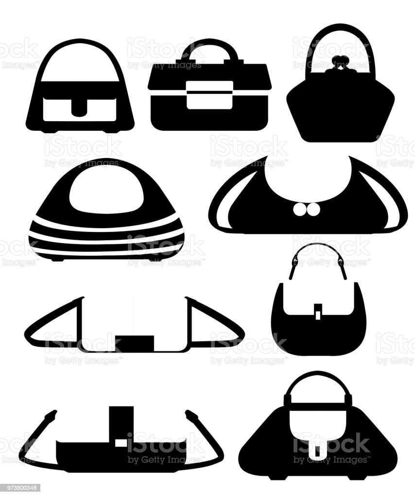 4bc2b307c0 Set of stylish women s handbags. Collection of handbags of different  shapes. Flat style design. Vector illustration isolated on white background.