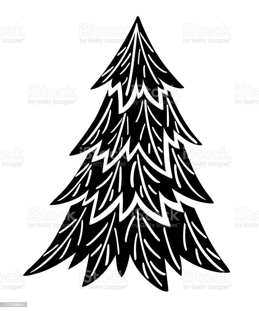 Black Silhouette Spruce Tree Evergreen Flat Style Christmas Tree Without Decorations Vector Illustration Isolated On White Background Stock