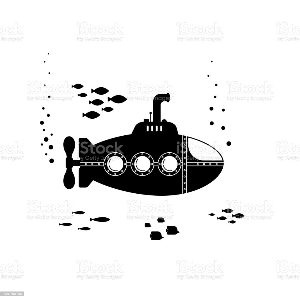 black silhouette submarine with periscope underwater concept marine
