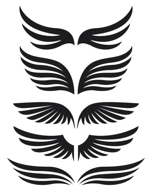 schwarze silhouette flügel emblem kollektion - schutzengel stock-grafiken, -clipart, -cartoons und -symbole
