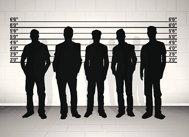 stockillustraties, clipart, cartoons en iconen met black silhouetted police line up - confrontatie