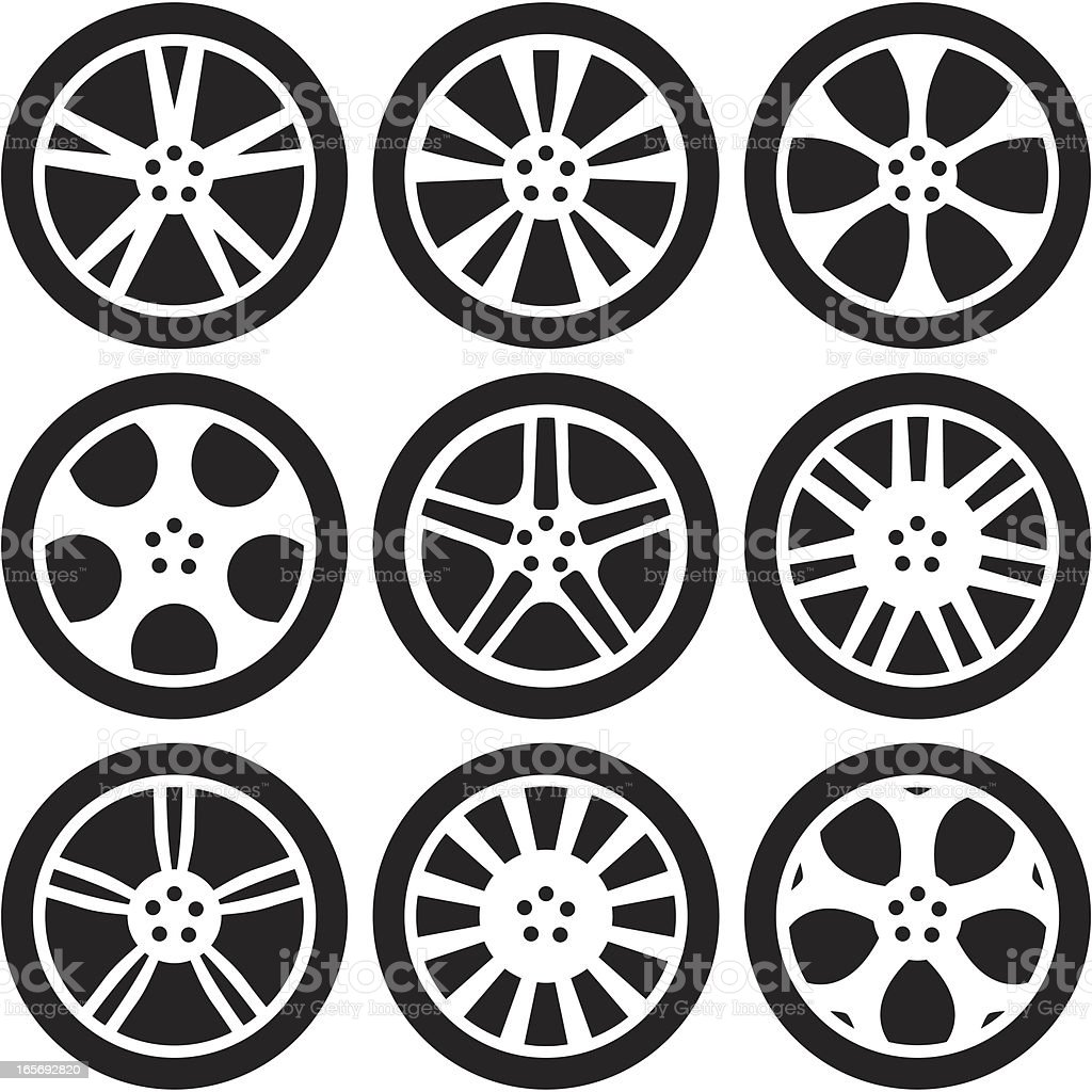 Black Silhouettes -  Alloy Wheels royalty-free stock vector art