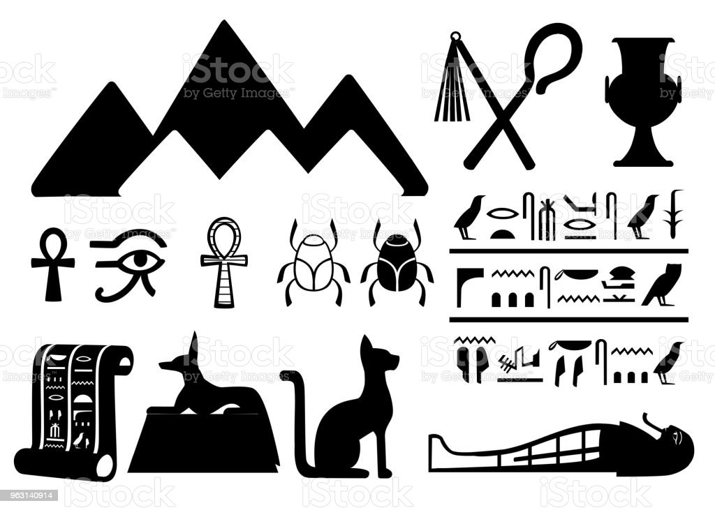 Black Silhouettes Ancient Egyptian Symbols And Decoration Egypt Flat