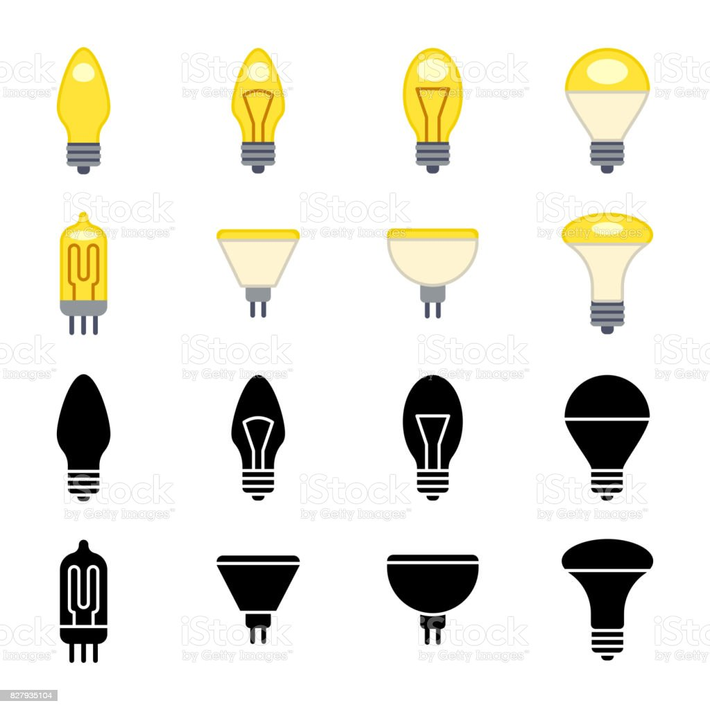 Black silhouettes and colorful light bulbs icons isolated on white