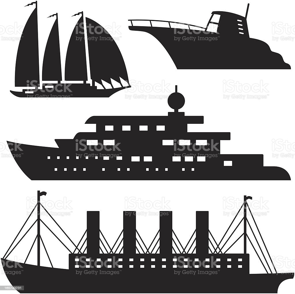 Black Silhouettes -  Boats vector art illustration